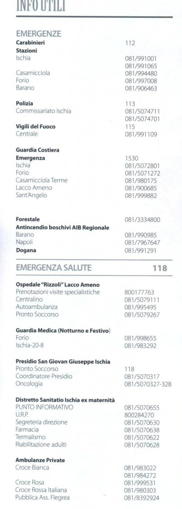 Informazioni utili ischia luglio 2010 telefoniche