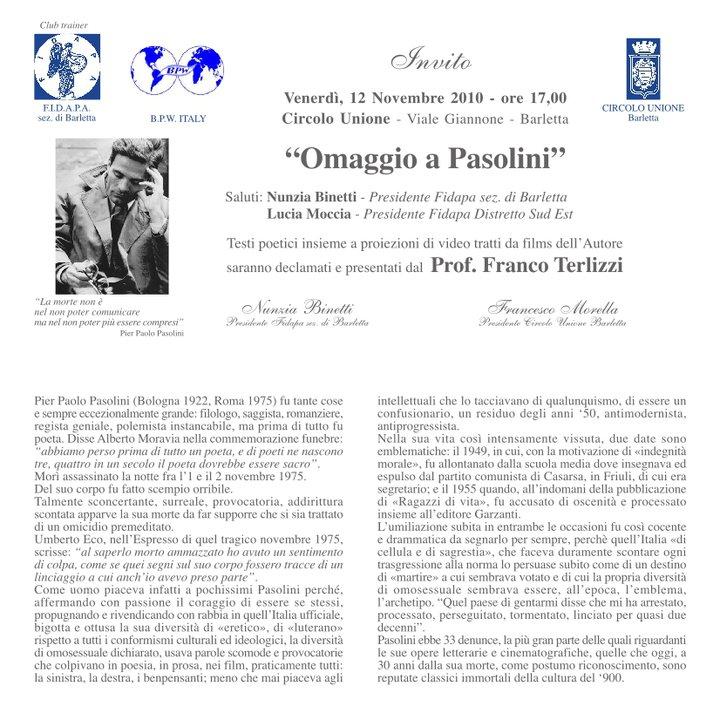 Nunzia Binetti omaggio a Pasolini jpg