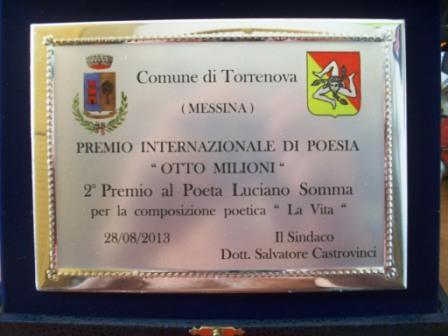 Targa Luciano Somma secondo premio torrenova