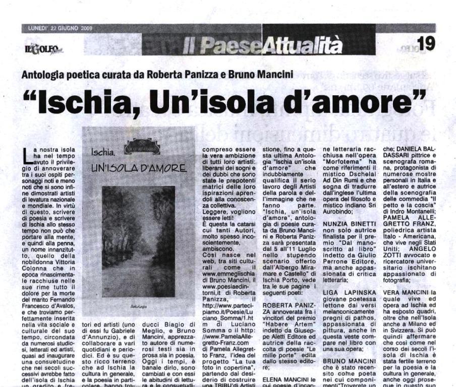 """22 Giugno 2009Rubrica """"La nostra isola"""""""