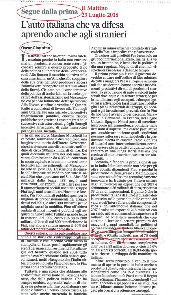 FIAT Oscar Giannino Il Mattino 23 Luglio 2018