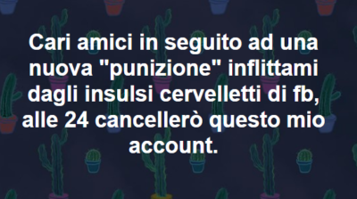 Cancellazione account facebook Per la serie Esopo news