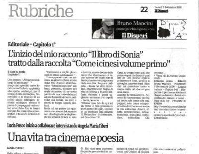"""Il Dispari 20180903 Editoriale L'inizio del mio racconto """"Il libro di Sonia"""""""