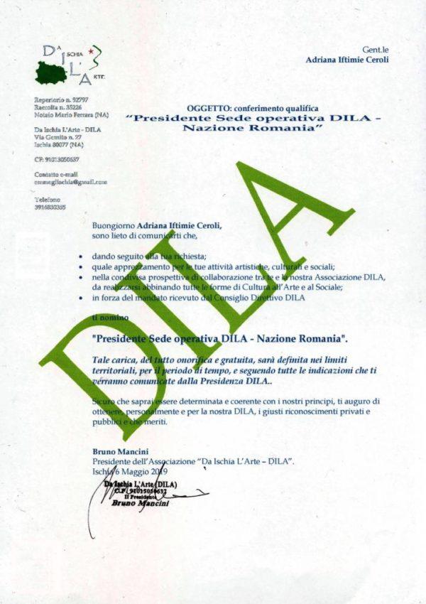 DILA sede operativa RomaniaPresidente Adriana Iftimie Ceroli dal 5 Maggio 2019