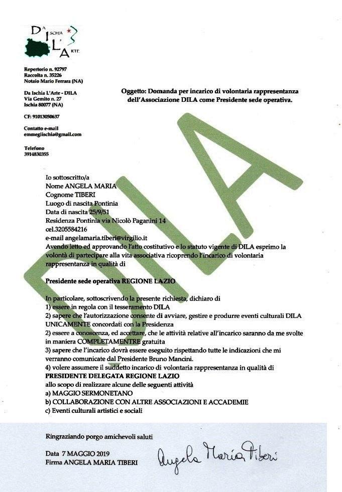 DILA sede operativa Regione LazioPresidente Angela Maria Tiberi dal 9 Maggio 2019