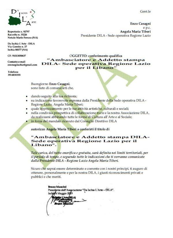 Enzo Casagni Ambasciatore DILA e Addetto stampa della Sede operativa Regione Lazio, per il Libano