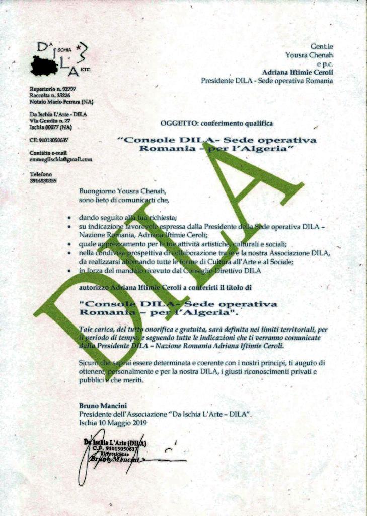 Yousra Chenah Console DILA della Sede operativa Regione Campania, per l'Algeria