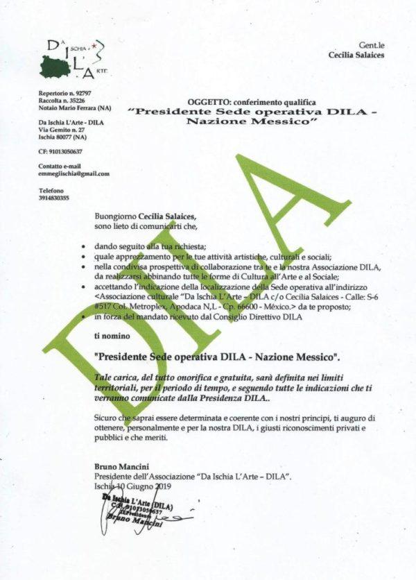 DILA sede operativa Messico Presidente Cecilia Salaices dal 10 Giugno 2019
