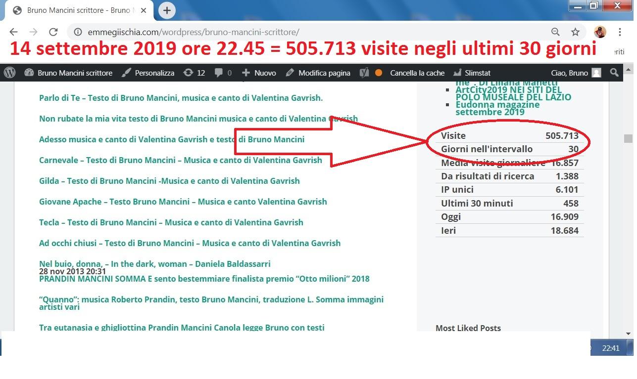 Statistiche 14 settembre 2019 del sito https://www.emmegiischia.com/wordpressIl vostro sito di notizie artistiche, culturali e sociali, gratuito e privo di ogni forma di pubblicità!
