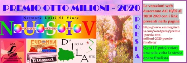 """Premio internazionale di Poesia """"Otto milioni"""" - 2020"""