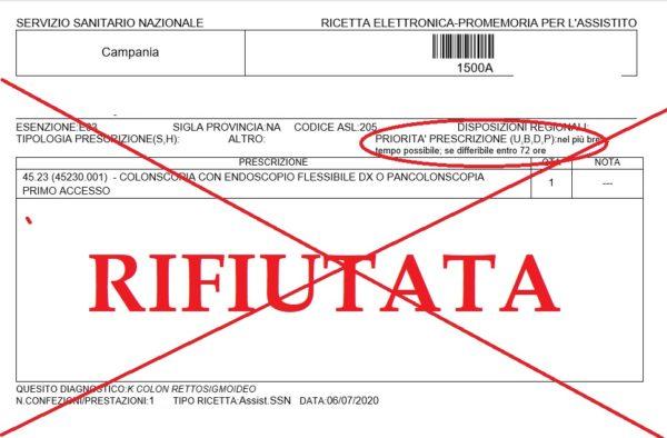 ASL Napoli analisi rifiutata - urgente 72 ore - 06 Luglio 2020