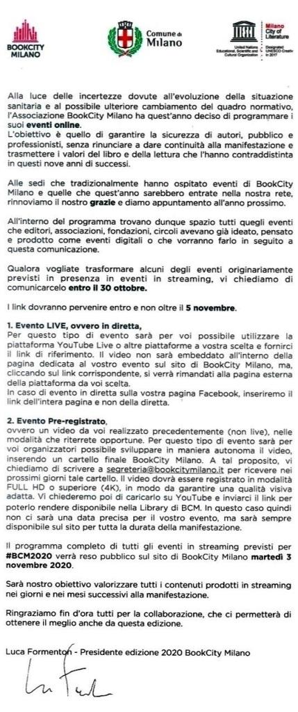 BookCity Milano aggiornamento svolgimento manifestazione 2020