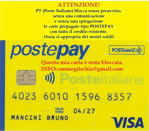 PT (Poste Italiane) blocca le carte prepagate tipo POSTEPAY