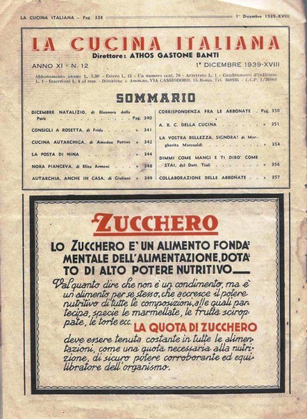 La cucina italiana Dicembre 1939 n. 12 testo zucchero