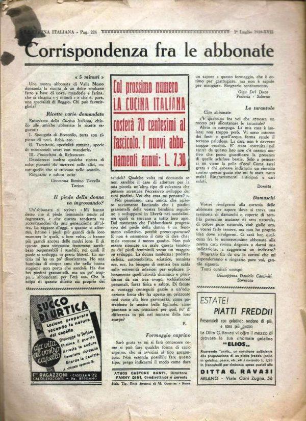 La cucina italiana Luglio 1939 n. 7 cop post