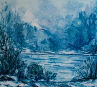 Scomparti Fiera di Erba dipinto Atmosfera d'autunno sul fiume Adda