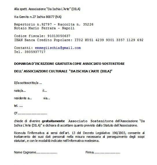 Domanda iscrizione gratuita Associato sostenitore 2015