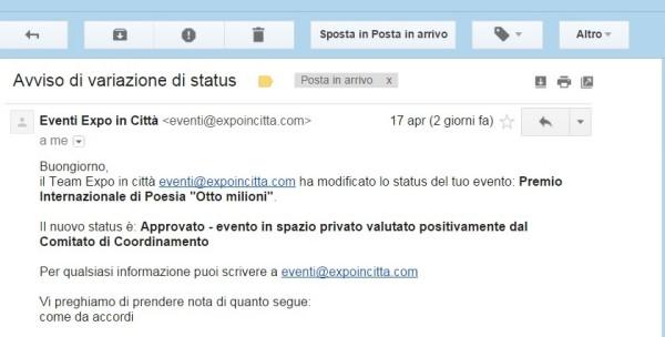EXPO mail approvazione progetto ok