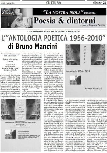 03 Marzo 2011 - il multiforme viaggio poetico che Bruno Mancini propone