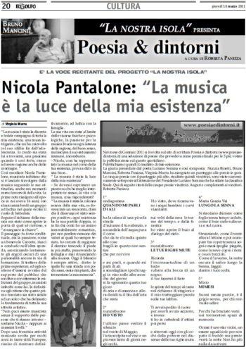"""10 Marzo 2011 - Pagina culturale """"Il Golfo"""" di Domenico Di Meglio"""
