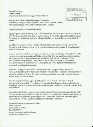 Interrogazione Amministratori gemellaggio protocollata comp