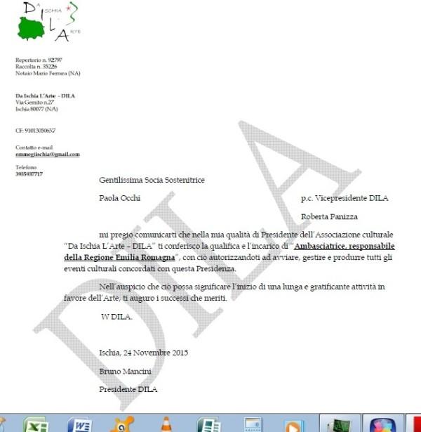 Paola Occhi lettera incarico firmata