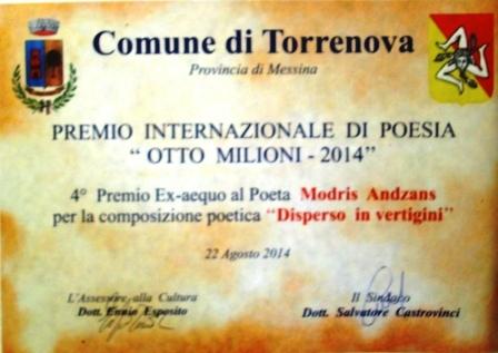 Premi torrenova otto milioni 2014 Andzans
