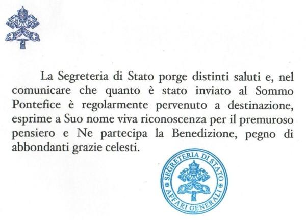 Ringraziamento Vaticano