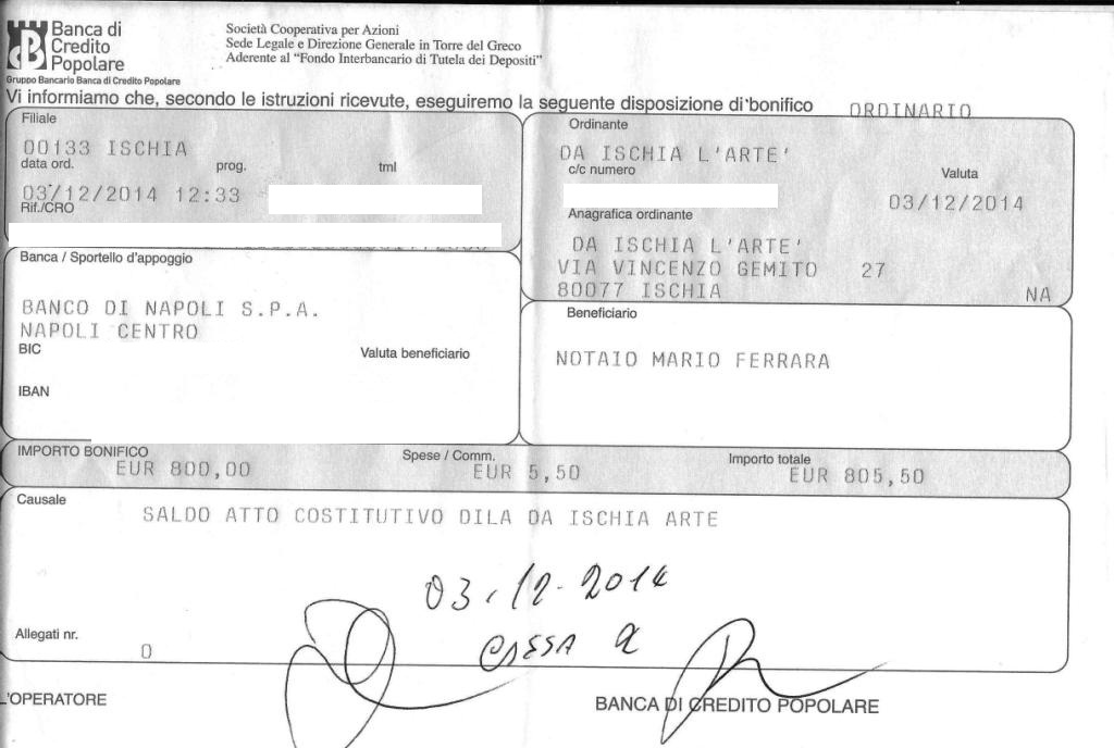 Parcella notarile per atto costitutivo dila for Parcella notaio