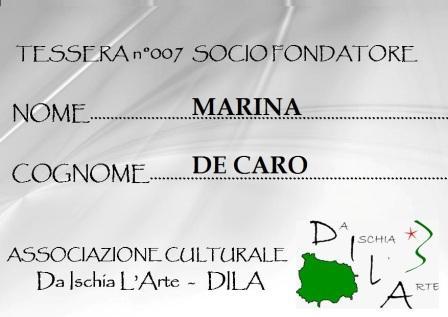 Tessera Fondatore 007 Marina De Caro