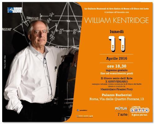IL GIOCO SERIO DELL'ARTE. William Kentridge sarà il prossimo ospite di Massimiliano Finazzer Flory