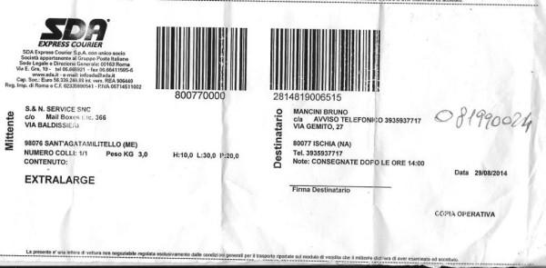 poste pacco non consegnato - Comp