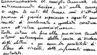 Stralcio lettera ritiro dimissioni Sindaco della città d'Ischia Giosi Ferrandino